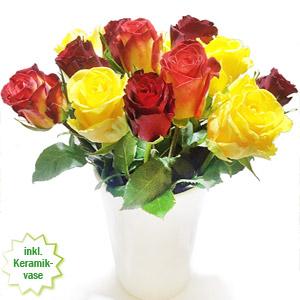 Rot gelbe Rosen, ein feuriges Blumenset.