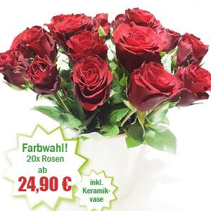 Rote Rosen in Keramikvase.