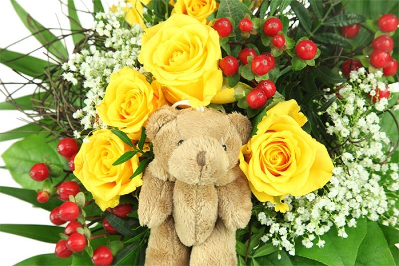 Sunshine Blumenstrauß mit Teddy